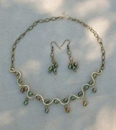 Pearl and Brass Necklace and Ear Ring Set   wickedwireworks - Jewelry on ArtFire