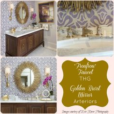 My dream bathroom: Froufrou faucet by THG and Golden Burst Mirror by Arteriors.