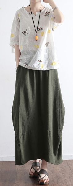 2017 NEW BLACKISH GREEN PATCHWORK LINEN SKIRTS VINTAGE OVERSIZE MAXI SKIRTS