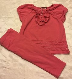 Juicy Couture Coral Pink Top Shirt Pants Spring Outfit 2 Piece Set 12 18 Month #JuicyCouture #Everyday