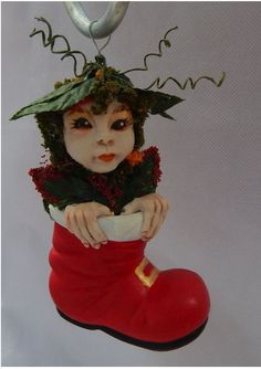 Woodland Christmas Elf in Boot Ornament OOAK Fairy Fairies Holiday Decorations http://www.ebay.com/itm/-/162271869766?ssPageName=STRK:MESE:IT