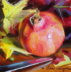"Daily Paintworks - ""Pomegranate and Autumn Leaves"" by Elena Katsyura"