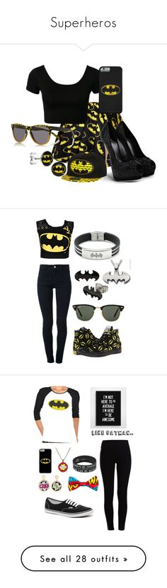 """Superheros"" by reicreic ❤ liked on Polyvore featuring Retrò, Giuseppe Zanotti, River Island, swag, batman, Superhero, STELLA McCARTNEY, Converse, Ray-Ban and Pieces"