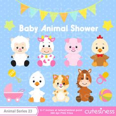 Baby Animal Clipart , Baby Farm Animals Clipart, Baby shower Clipart