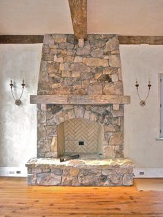 Rustic Stone Fireplace Mantels | Fireplace Mantel Design With Stone Fireplace And Wood Wall For Rustic ...