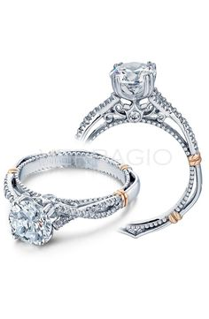 Verragio rose gold and white gold engagement ring