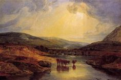 Abergavenny Bridge, Monmountshire -clearing up after a showery day - William Turner