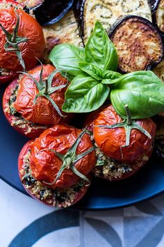 Quinoa, basil and olive stuffed tomatoes (vegan and gluten free).