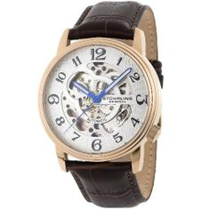 Stuhrling Original Men's 107BG.3345K2 Delphi Oracle (Gents) Automatic Skeleton Rosetone Watch Stuhrling Original. $79.95. Brown alligator embossed genuine leather strap. Krysterna crystal (front and back). Silver hydraulically pressed herringbone design dial. Water-resistant to 165 feet (50 M). 16k rose goldplated stainless steel case. Save 77% Off!