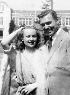 Carole Lombard and Clark Gable in a candid taken...