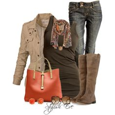 Brown and Orange Rustic Fall Outfit: Distressed Jeans, beige jacket, brown tank, riding boots, orang purse and the scarf that pulls it all together!