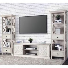 Furniture of America Georgia Antique White Entertainment Center with 72 Inch TV Stand – Tv Room Living Room Tv Wall, Tv Stand Decor Living Room, Living Room Tv, Farm House Living Room, Living Room Tv Stand, Living Room Entertainment Center, White Tv Stands, Living Decor, Tv Stand Decor