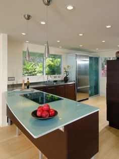 Glass counter top for island in kitchen.