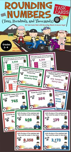 This pack contains a total of eighty (80) task cards divided into three (3) sets with an emphasis on helping students learn or practice on how to round numbers to the tens, hundreds, and thousands places.