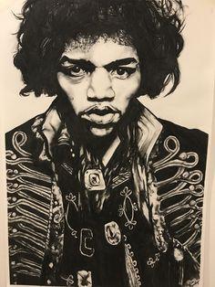 Jimi Hendrix, commission piece (charcoal)
