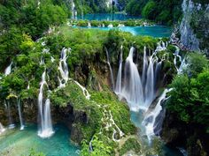 Plitvice Lakes, Croatia -- complete with 16 terraced lakes and great hiking trails from 90+ minutes.