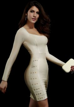 BEIGE STUDDED EVENING BANDAGE DRESS WITH GOOD QUALITY LC28011 FREE SHIPPING FAST DELIVERY $140.14