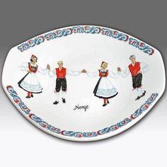 VINTAGE FIGGJO FLINT OBLONG PLATE/DISH NORWEGIAN FOLK DANCING DESIGN - NORWAY Stavanger, Folklore, Fine China, Norway, Scandinavian, Dancing, Dish, Pottery, Wood