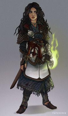 Female Halfling Fighter with Magic initiate, medium armor and longsword
