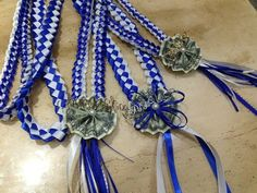 """Graduation leis for my 2013 boys. """"Christian"""" """"Christopher"""" and """"Brandon"""" 8th Grade Graduation, Graduation Leis, Graduation Decorations, High School Graduation, Graduation Cards, Ribbon Lei, Ribbon Candy, Candy Leis, Graduation Gifts For Friends"""