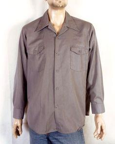 5299316a8 Vintage Workwear · vtg 50s 60s Lee USA Made Gray Button Down Work Shirt  Mechanic sz XL Work Shirts