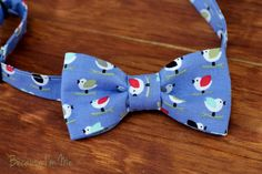 Shop today and Save 10% with coupon code PIN10, Boys Bow Tie - Wonderful Multi-Colored Birds on Periwinkle Blue woven cotton, bowtie for infant, toddler, child