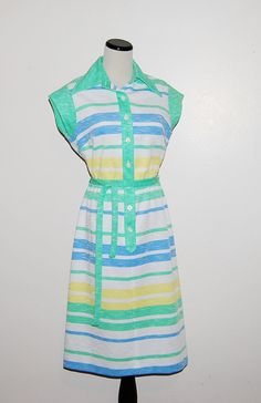 Vintage Dress Lime with Yellow and Blue by CheekyVintageCloset, $18.00