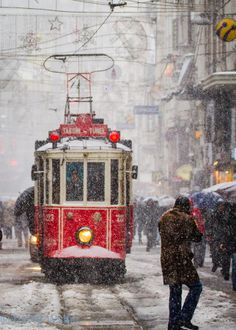 Snow in tram on Istiklal Avenue, Istanbul, Turkey