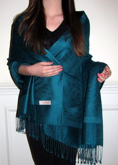 Teal Pashmina Shawl Designer Inlaid Paisley - vaialable in over 100 colors at Yours Elegantly - beautiful silk pashmina paisley stoles shawls wraps $24.99.
