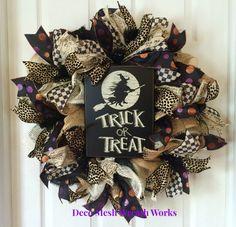 Halloween Wreath, Halloween Wreaths, Trick or Treat Wreath, Burlap Wreath, Mesh…