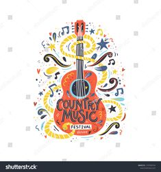 Illustration with acoustic guitar and hand lettering. Great element for music festival or t-shirt. Guitar Vector, Guitar Logo, Guitar Diy, Guitar Case, Vintage Guitars For Sale, Music Instruments Diy, Guitar Posters, Book Festival, Sign Writing