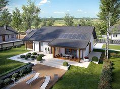 Projekt domu Kornel VI (z wiatą) energo - koszt budowy 165 tys. Bungalow Haus Design, Modern Bungalow House, Style At Home, House Roof, Facade House, Small House Design, Modern House Design, Simple House Plans, Bungalow Renovation