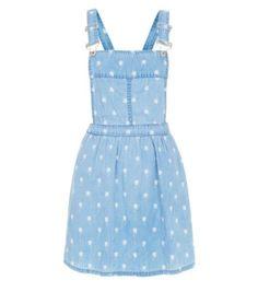 Light Blue Palm Tree Print Denim Pinafore Dress
