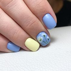 Blue summer nails Cute nails Daisy nails flower nail art Manicure by summer dress Marine nails Nails ideas with flowers Short blue nails Classy Nail Art, Classy Nail Designs, Best Nail Art Designs, Acrylic Nail Designs, Funky Nail Art, Funky Nails, Cool Nail Art, Cute Acrylic Nails, Cute Nails