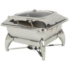 Commercial Stainless Steel Chafing Dish - Square by KegWorks. $1269.00. Lifts easily from base for use on an induction plate or steam table.. Glass-domed lid for easy viewing, without opening.. 5.8 qt food capacity with a small table footprint. Serve more in less space!. Multi-layer stainless steel clad bottom for even heat distribution.. Water recycling system traps lid condensation and moisture drip and recycles it into the water pan.. This high-quality chafing pan hold...