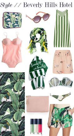 Fashion inspiration from Beverly Hills Hotel's signature pink & green color scheme and beloved palm wallpaper. #witcherystyle