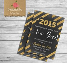 New year Party Invitation, new years eve party printable, Holidays Party, 2015, Happy New Year! #bestofEtsy #design