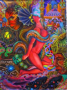 The serpent goddess swallows ayahuasca rooting her feet into the core,   as her body disintegrates into elements, floating in the wind, riding the smoke up to the stars