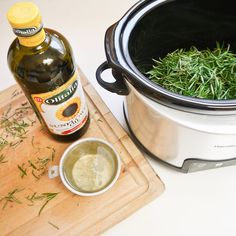How to Make Rosemary Oil -1 cup rosemary leaves, 2 cups oil, sunflower or grapeseed, slow cooker for 6 hours, cool for 1. strain into glass jar. enjoy.