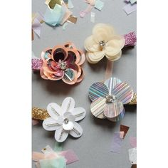 Crown and Glory Sequin Flower Hair Clip Pair   Holographic and White ($4.40) ❤ liked on Polyvore featuring accessories, hair accessories, white flower hair clip, white crown, flower crown, flower hair clips and hair clip accessories