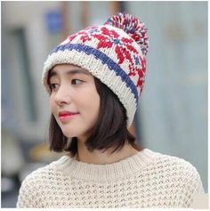 Geometric knit hat for women snowflake hairball stocking cap autumn