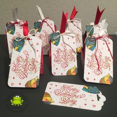 Stampin Up seaside shore valentines day sealed with love heart love sea fish swim water label gift bag treat
