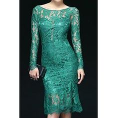 Openwork Design Long Sleeve Backless Solid Color Scoop Neck Lace Trumpet Dress For Women Cute Lace Dresses, Green Lace Dresses, Cheap Dresses, Casual Dresses, Fashion Dresses, Women's Dresses, Dresses Online, Jw Fashion, Chiffon Dresses
