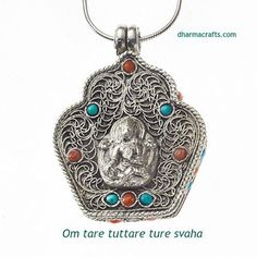Green Tara is the feminine embodiment of enlightenment and a manifestation of the Buddha-nature that exists in all of us.  This Tibetan pendant is exquisitely handcrafted of sterling silver and studded with turquoise and coral.