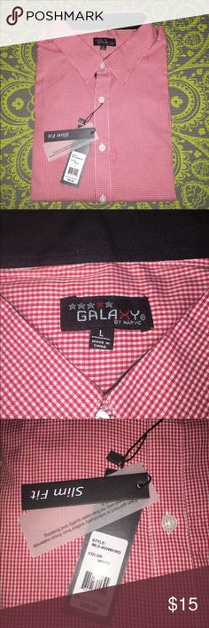 Brand New Galaxy by Harvic Button Up Shirt NWT. Red and white checked long sleeve button up. Slim fit. Doesn't fit me. Make an offer. Galaxy by Harvic Shirts Casual Button Down Shirts