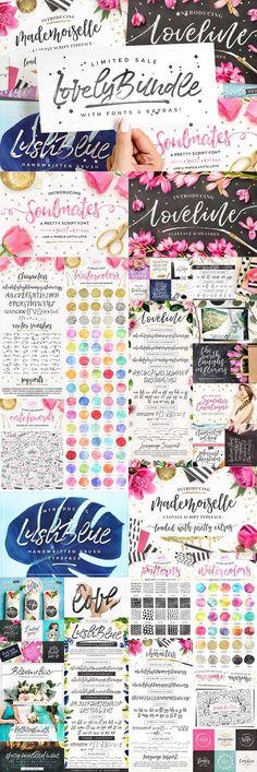The Lovely Bundle I Fonts + EXTRAS! by Pink Coffie on @creativemarket #fontbundle #scriptfonts #handlettered