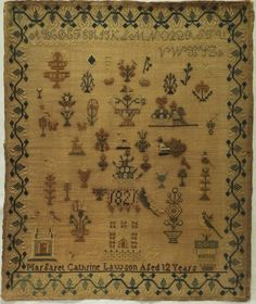 EARLY 19TH CENTURY HOUSE & MOTIF SAMPLER BY MARGARET CATHRINE LAWSON - 1821 in Antiques, Linens & Textiles (Pre-1930), Samplers   eBay
