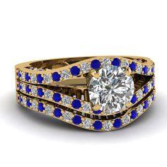 Contemporary Split Set || Round Cut Diamond Wedding Set With Blue Sapphire In 18k Yellow Gold