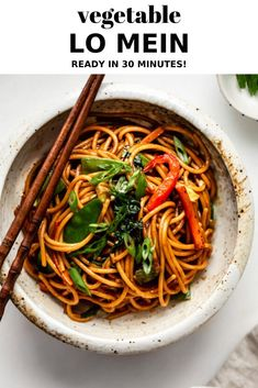 This Vegetable Lo Mein is quick and easy to make, and loaded with vegetables for a healthy weeknight dinner! This Vegetable Lo Mein comes together in under 30 minutes for a quick and easy weeknight dinner! Vegetarian Lo Mein, Vegetarian Recipes, Healthy Recipes, Quick Recipes, Vegan Lo Mein, Yummy Recipes, Casseroles Healthy, Xmas Recipes, Pizza