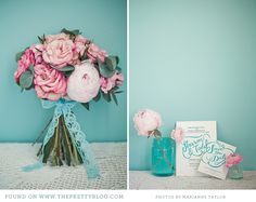 Pink bouquet with turquoise lace